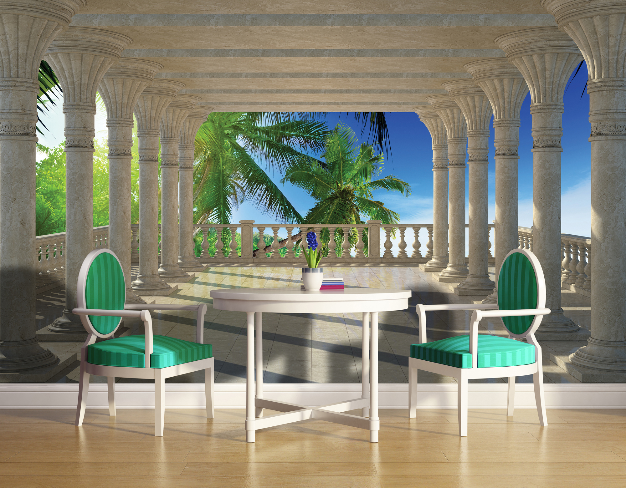 Vintage 3d blue luxury room, with table, chairs wood floor