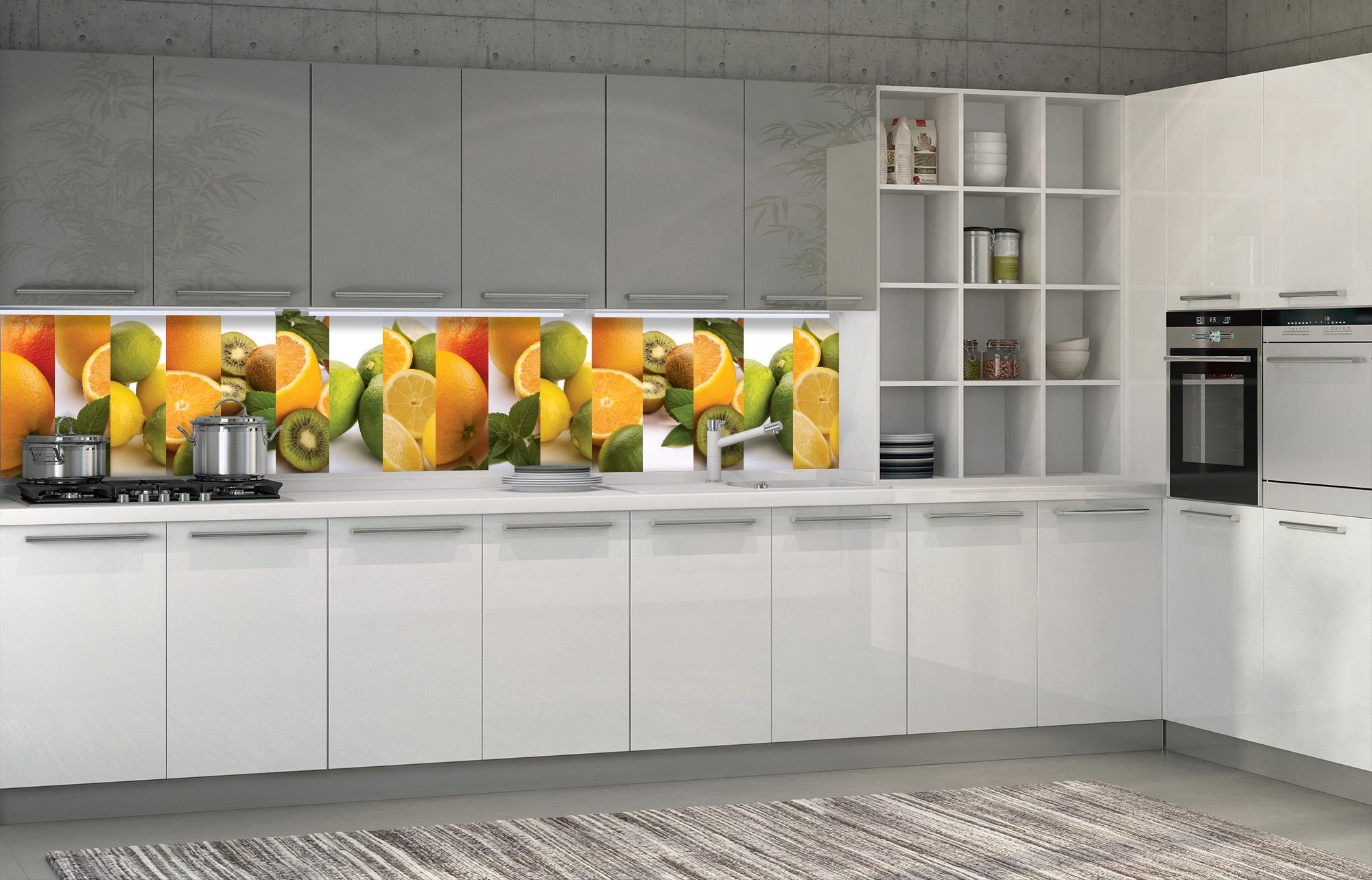 White glossy kitchen in an interior