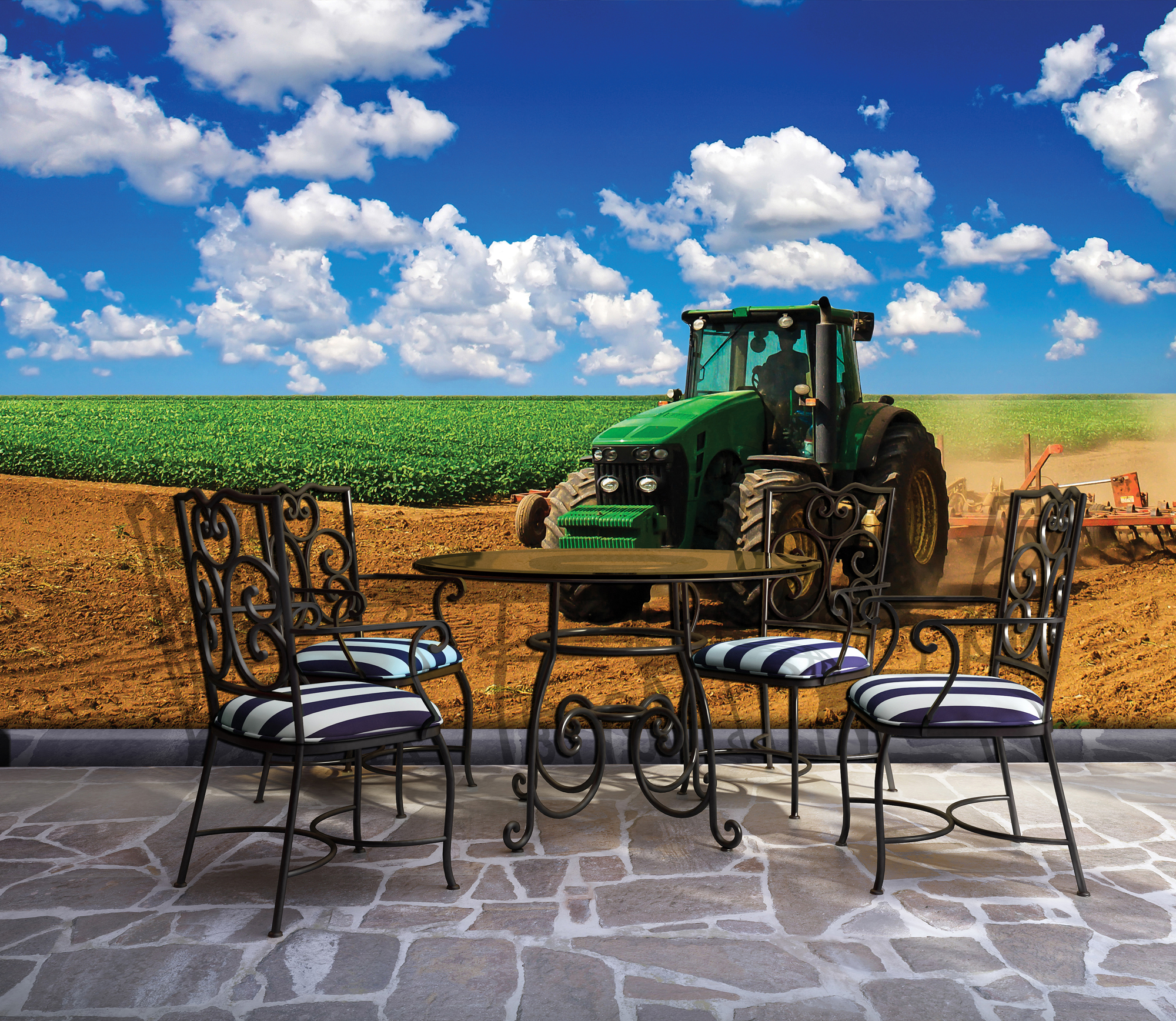 Romantic aged Italian village outdoor furniture on stucco wall